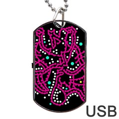 Pink Fantasy Dog Tag Usb Flash (one Side) by Valentinaart