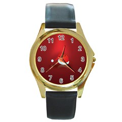Red Christmas Had Round Gold Metal Watch by AnjaniArt