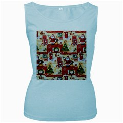 Santa Clause Mail Bird Snow Women s Baby Blue Tank Top