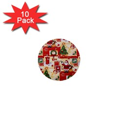 Santa Clause Mail Bird Snow 1  Mini Buttons (10 Pack)  by AnjaniArt