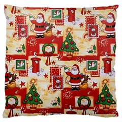 Santa Clause Mail Bird Snow Large Flano Cushion Case (two Sides)