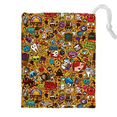 Retro Face Drawstring Pouches (xxl) by AnjaniArt
