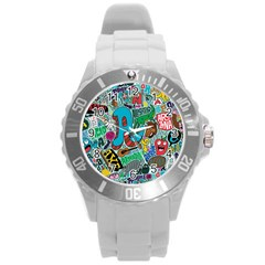 Teks Face Round Plastic Sport Watch (l)
