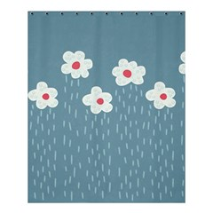 Cloudy Sky With Rain And Flowers Shower Curtain 60  X 72  (medium)  by CreaturesStore