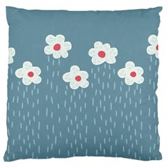 Cloudy Sky With Rain And Flowers Large Cushion Case (two Sides) by CreaturesStore