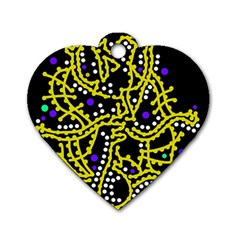 Yellow Fantasy Dog Tag Heart (one Side) by Valentinaart