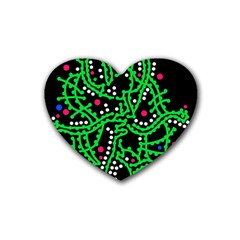 Green Fantasy Heart Coaster (4 Pack)  by Valentinaart