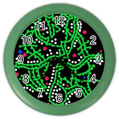 Green Fantasy Color Wall Clocks by Valentinaart