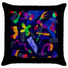 Colorful Dream Throw Pillow Case (black) by Valentinaart