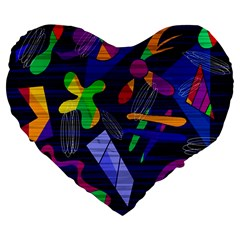 Colorful Dream Large 19  Premium Flano Heart Shape Cushions by Valentinaart