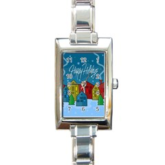 Xmas Landscape Rectangle Italian Charm Watch by Valentinaart