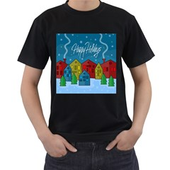 Xmas Landscape Men s T Shirt (black) (two Sided) by Valentinaart