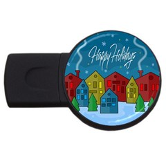 Xmas Landscape Usb Flash Drive Round (4 Gb)  by Valentinaart