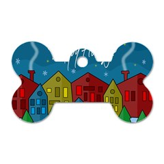 Xmas Landscape Dog Tag Bone (two Sides) by Valentinaart