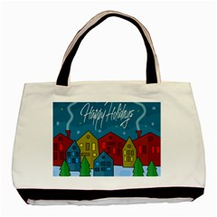 Xmas Landscape Basic Tote Bag (two Sides) by Valentinaart