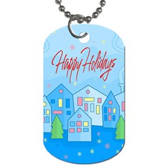 Xmas Landscape   Happy Holidays Dog Tag (two Sides) by Valentinaart