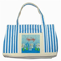 Xmas Landscape   Happy Holidays Striped Blue Tote Bag