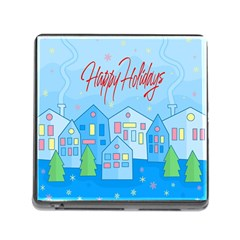 Xmas Landscape   Happy Holidays Memory Card Reader (square) by Valentinaart