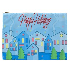 Xmas Landscape   Happy Holidays Cosmetic Bag (xxl)  by Valentinaart