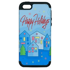 Xmas Landscape   Happy Holidays Apple Iphone 5 Hardshell Case (pc+silicone) by Valentinaart