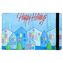 Xmas Landscape   Happy Holidays Apple Ipad 3/4 Flip Case by Valentinaart