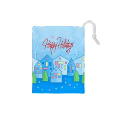 Xmas Landscape   Happy Holidays Drawstring Pouches (small)  by Valentinaart