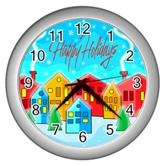Christmas Magical Landscape  Wall Clocks (silver)