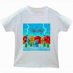 Christmas Magical Landscape  Kids White T Shirts by Valentinaart