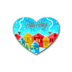 Christmas Magical Landscape  Rubber Coaster (heart)  by Valentinaart
