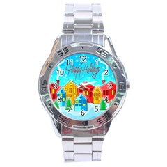 Christmas Magical Landscape  Stainless Steel Analogue Watch by Valentinaart