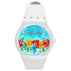 Christmas Magical Landscape  Round Plastic Sport Watch (m) by Valentinaart
