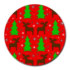 Reindeer And Xmas Trees Pattern Round Mousepads by Valentinaart
