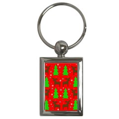 Reindeer And Xmas Trees Pattern Key Chains (rectangle)  by Valentinaart