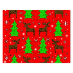 Reindeer And Xmas Trees Pattern Rectangular Jigsaw Puzzl by Valentinaart