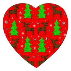 Reindeer And Xmas Trees Pattern Jigsaw Puzzle (heart) by Valentinaart