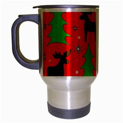 Reindeer And Xmas Trees Pattern Travel Mug (silver Gray) by Valentinaart