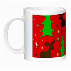 Reindeer And Xmas Trees Pattern Night Luminous Mugs by Valentinaart