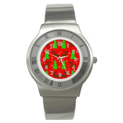 Reindeer And Xmas Trees Pattern Stainless Steel Watch by Valentinaart