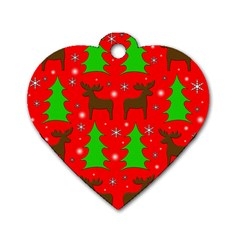 Reindeer And Xmas Trees Pattern Dog Tag Heart (one Side) by Valentinaart