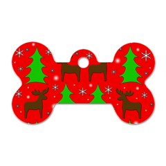 Reindeer And Xmas Trees Pattern Dog Tag Bone (one Side) by Valentinaart