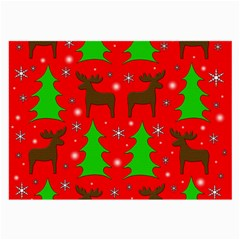 Reindeer And Xmas Trees Pattern Large Glasses Cloth (2-side) by Valentinaart