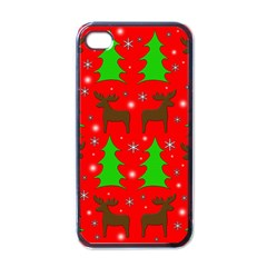 Reindeer And Xmas Trees Pattern Apple Iphone 4 Case (black) by Valentinaart