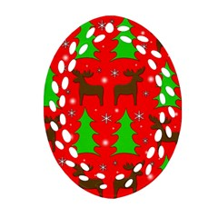 Reindeer And Xmas Trees Pattern Ornament (oval Filigree)  by Valentinaart