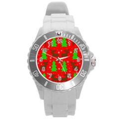 Reindeer And Xmas Trees Pattern Round Plastic Sport Watch (l)