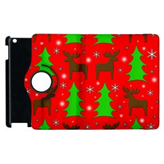 Reindeer And Xmas Trees Pattern Apple Ipad 2 Flip 360 Case by Valentinaart
