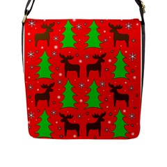 Reindeer And Xmas Trees Pattern Flap Messenger Bag (l)  by Valentinaart