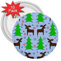 Reindeer And Xmas Trees  3  Buttons (10 Pack)