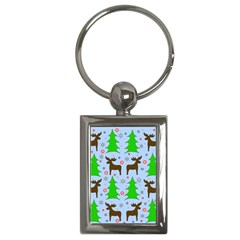 Reindeer And Xmas Trees  Key Chains (rectangle)  by Valentinaart