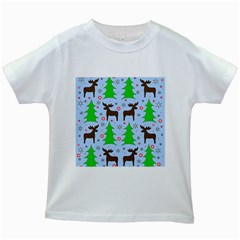 Reindeer And Xmas Trees  Kids White T Shirts by Valentinaart