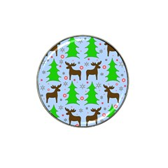Reindeer And Xmas Trees  Hat Clip Ball Marker by Valentinaart